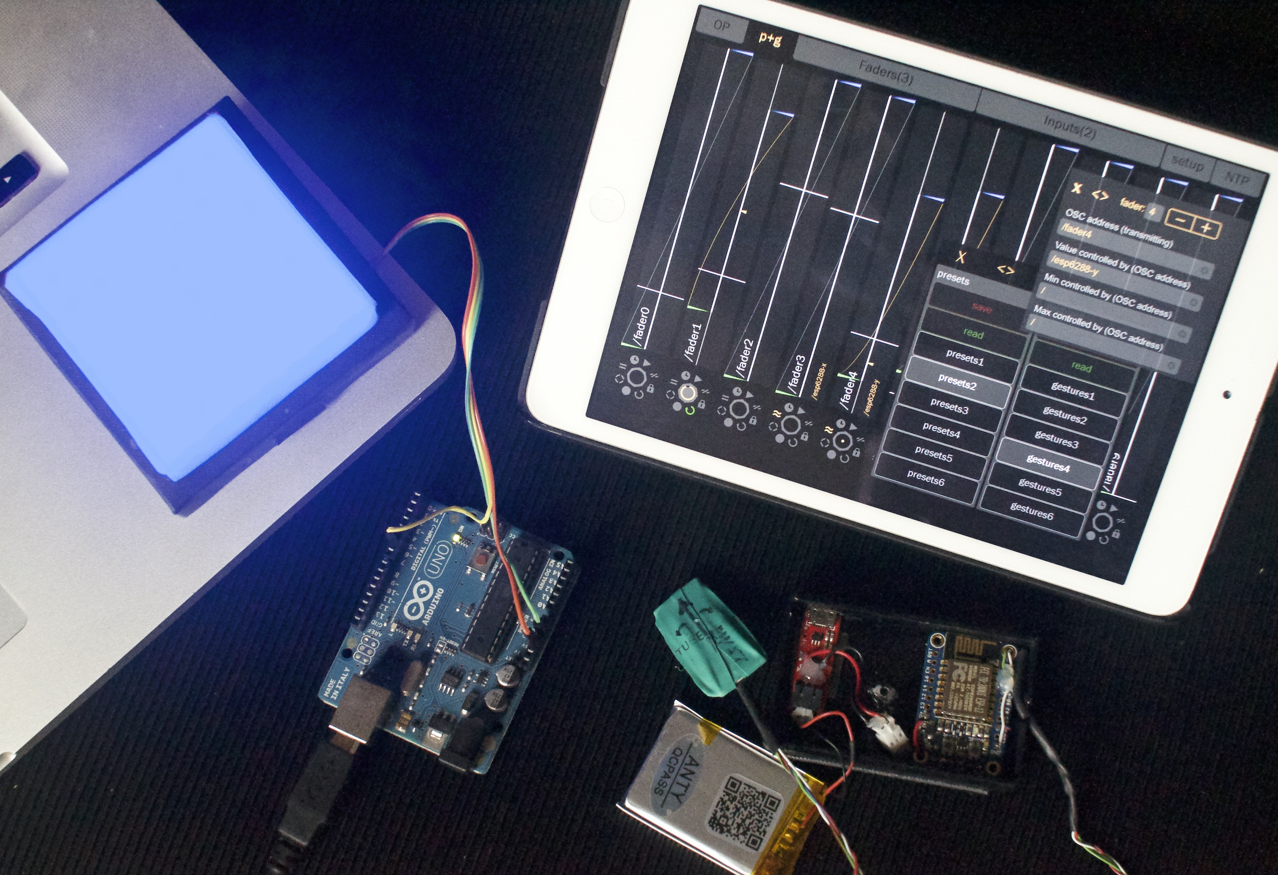 Parat+ with EPS8266 by Adafruit with LSM9S0 controlling a 64
