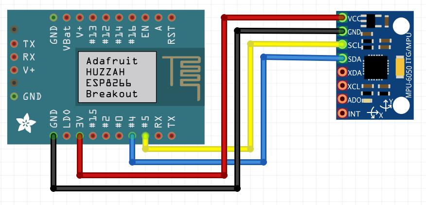 Huzzah ESP8266 with MPU6050 accelerometer, Arduino IDE